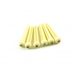 BRIDGE PINS CREAM 3MM ABALONE DOT 6stk