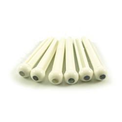 BRIDGE PINS WHITE 3MM ABALONE DOT 6stk