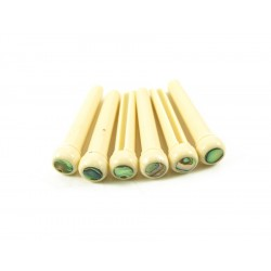 BRIDGE PINS CREAM 5MM ABALONE DOT 6stk