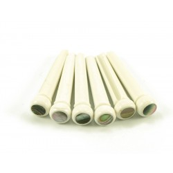 BRIDGE PINS WHITE 5MM ABALONE DOT 6stk