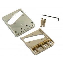 KLUSON® STEEL BRIDGE FOR TELE® W/BRASS SADDLES NICKEL-GLOSS