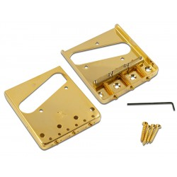 KLUSON® STEEL BRIDGE FOR TELE® W/BRASS SADDLES GOLD-GLOSS