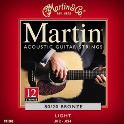 Martin 12/54 M190 80/20 Bronze 12-String Acoustic Guitar Strings Light